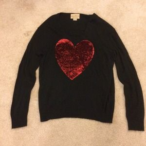 Wildfox Sequin White Label Heart Sweater in Black