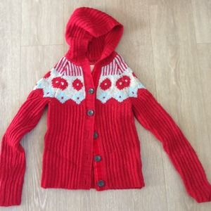 Old Navy Sweaters - *SOLD*Chunky knit RED sweater cardigan, fair isle