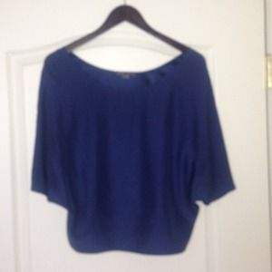 Navy silk blouse by Vince