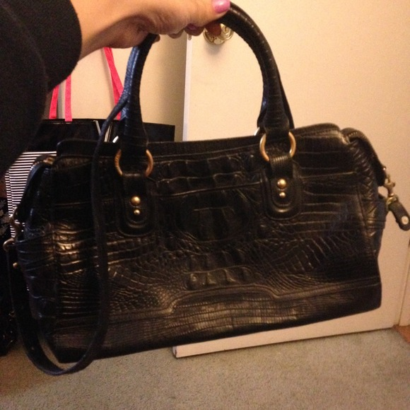 78 Off Brahmin Handbags Black Crocodile Skin Style