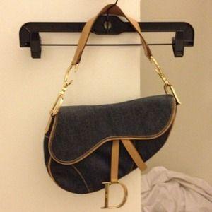 Dior Handbags - Authentic Dior Denim saddle bag purse