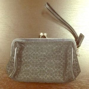 Black monogram Coach wristlet