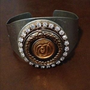 Vintage Repurposed Dior Button Cuff Bracelet