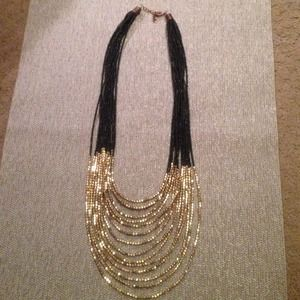 Gold and Black Beaded Statement Necklace