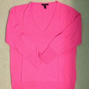 J. Crew Sweaters - J.Crew Hot Pink merino V-neck sweater