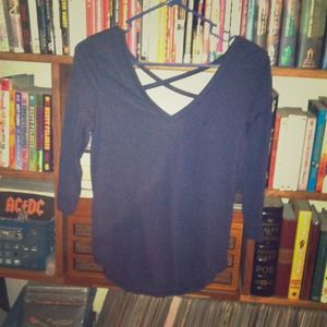 Blue 3/4 Sleeve Cross Back top