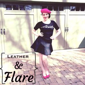 "Express Dresses & Skirts - ""Leather"" Flared Skirt"