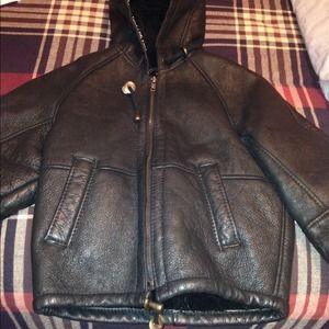Kids lamb leather jacket. Designer jacket wool .