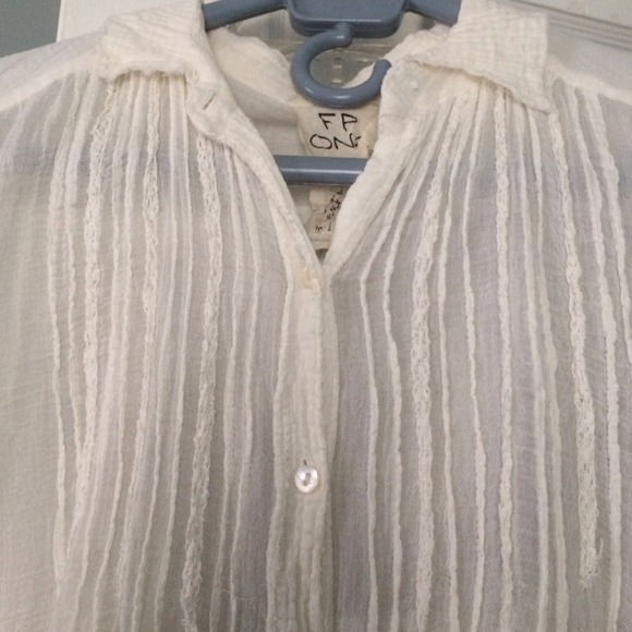 45 off free people tops free people white gauze button for Gauze button down shirt