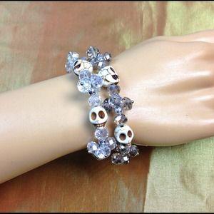 Jewelry - Skull bracelets. Swarovski crystal & howlite stone