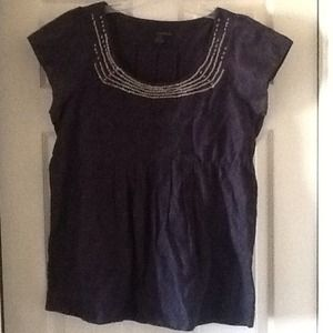Tops - Calvin Klein Navy Smock Top with Sequins