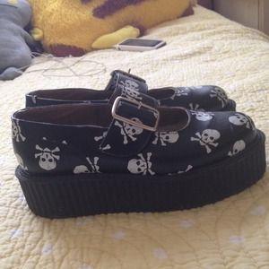 750f366ea3843 T.U.K. Shoes - RESERVED Skull T.U.K. Mary Janes