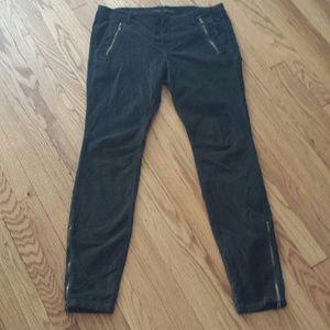 Zara green/suede skinny pants