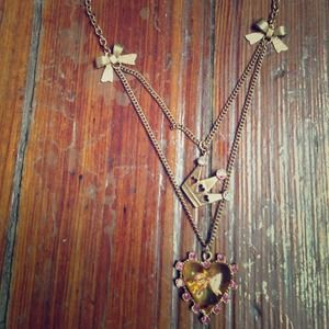 Betsey Johnson gold necklace with heart and crown