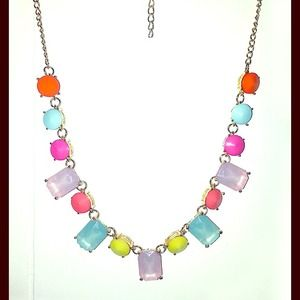 Colorful rhinestone statement necklace