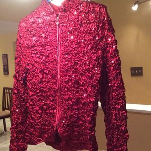 Red sparkly evening jacket