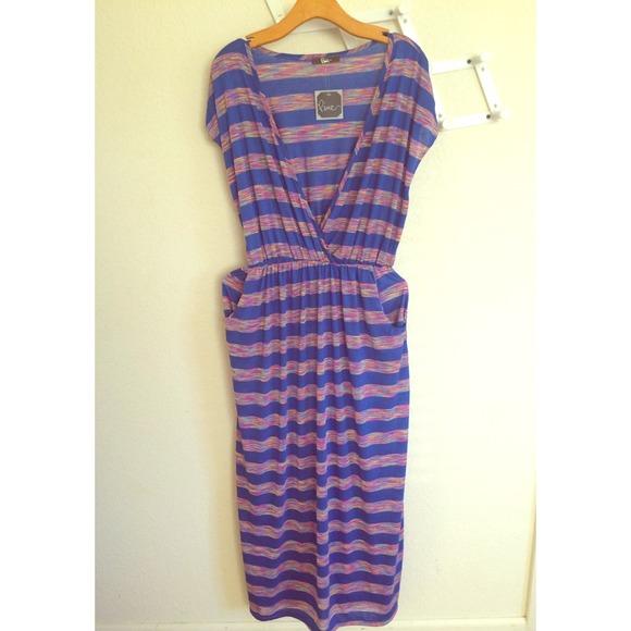 plus size maxi dress: royal blue & rainbow stripes NWT