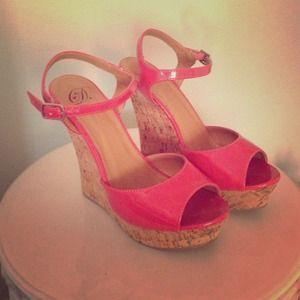 Shoes - Pink ankle strap wedges