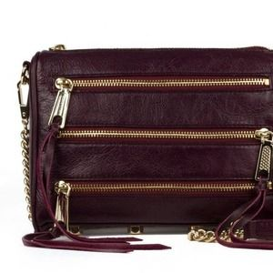 Rebecca Minkoff Mini 5 Zip in Black Cherry