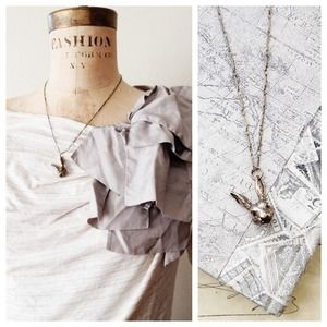 Antiqued Brass Rabbit Necklace