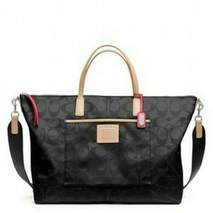 Coach Legacy Signature Nylon Weekender Tote