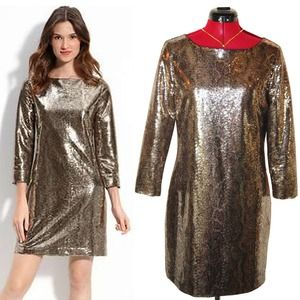 "Tahari ""EZRA"" Golden Sequin Shift Dress"