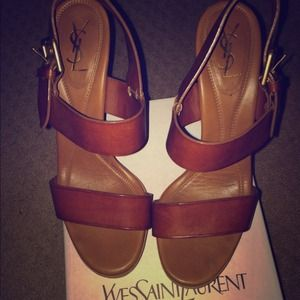 Yves St YSL Tribute Leather Sandal Heel brown 8.5
