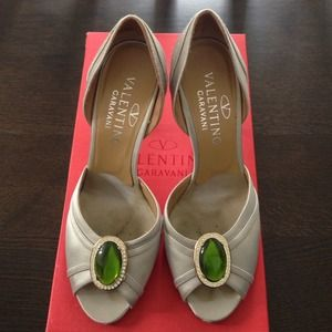 Valentino Silver Heels with Jewels Sz 36.5