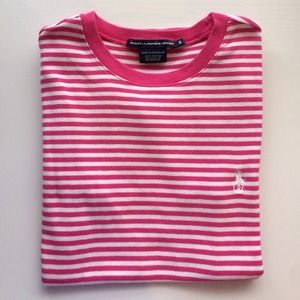 Ralph Lauren Tops - RL pink and white stripe tee