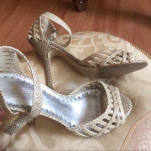 "BCBGirls ""Python"" Shimmer Ivory Sandals Size 7.5"