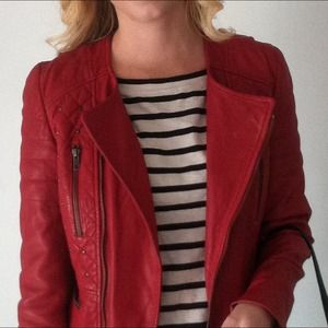 Zara Jackets & Blazers - Studded Red Leather Jacket