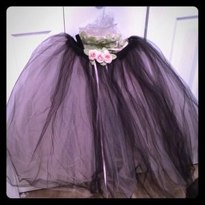 Pink and Black Tulle Tutu/Skirt Size Small