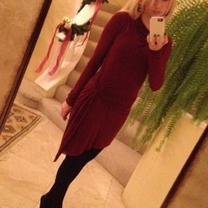 Oxblood Jersey gathered waist dress