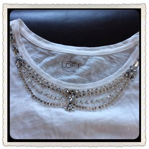 LOFT Tops - Loft Jeweled T-Shirt