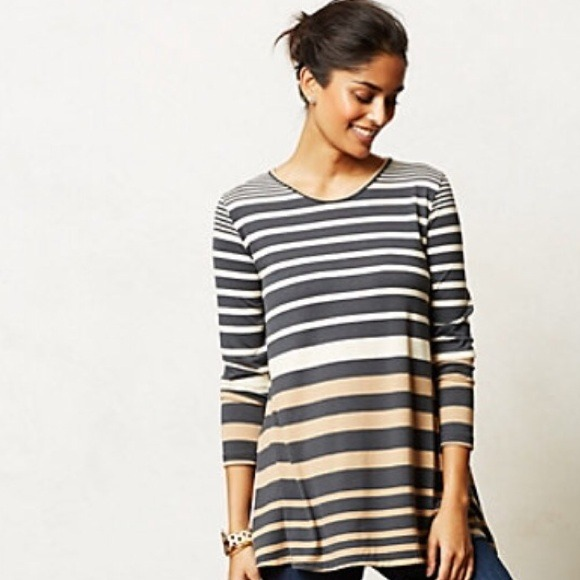 756cfdf3f2b Anthropologie Tops - Anthropologie Puella Striped Darcy Swing Tunic Top