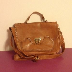 ❗️REDUCED❗️ Faux Leather Cognac Satchel