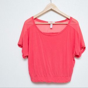 Ambiance Apparel Tops - Ambiance Apparel Coral sheer shoulder crop top