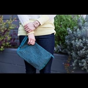 French Connection Handbags - Teal Oversized Mixed Media Clutch
