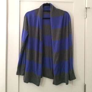 Theory Sweaters - Theory Grey and blue striped cashmere cardigan