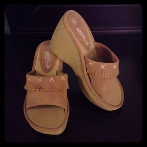 Shoes - SOLD Moccasin-style wedge clogs
