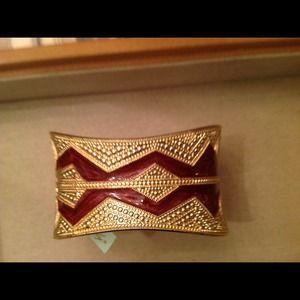 Jewelry - Gold & burgundy Aztec cuff bracelet