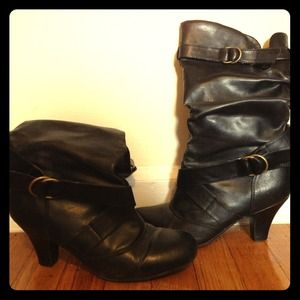 Boots - Black slouch boots with brass buckle details