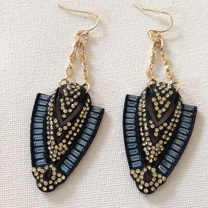 Black blue crystal ceramic earrings