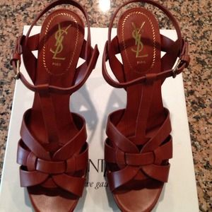 Yves Saint Laurent Shoes - YSL Tribute 75 Sandal Dark Cuoio Paint 40 NWT