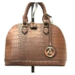 Chocolate faux Croc Handbag