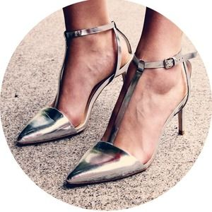 Zara Shoes - ZARA-silver t-strap pumps