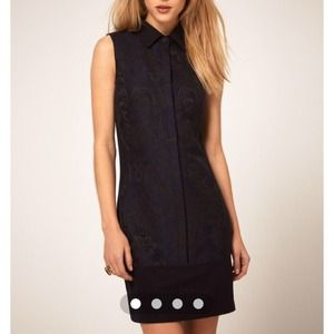 ASOS Wool Dress with Flocked Front Panel