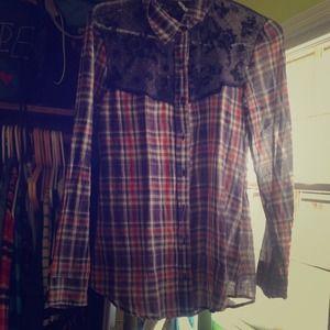 shirt/blouse plaid, sheer