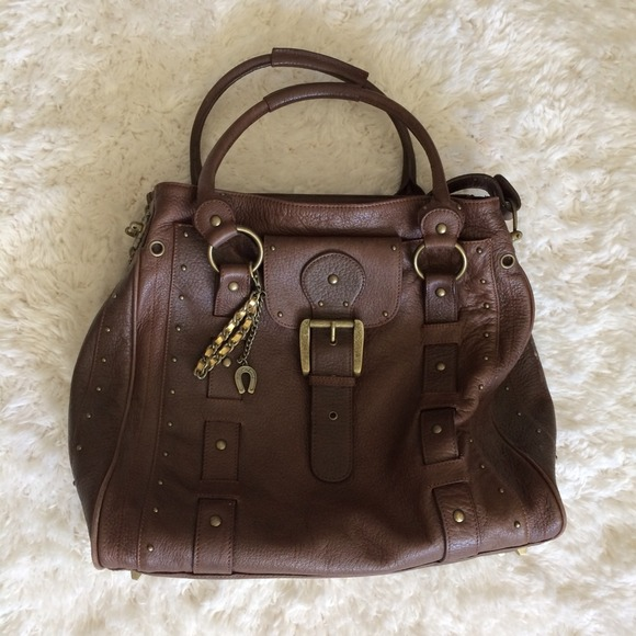 bc71d42d7d Betsey Johnson Handbags - Betsey Johnson Brown Tumbled Leather Studded Bag