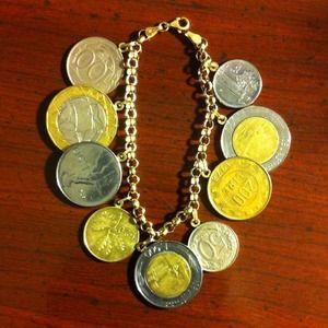 14k Milor Jewelry Bracelet With Authentic Lire Coins